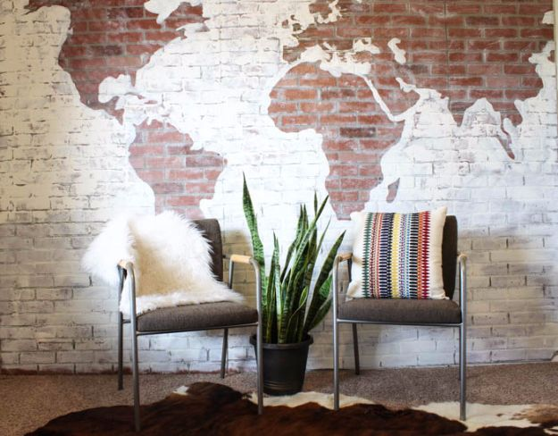Best DIY Home Decor Crafts - Faux Brick Wall World Map - Easy Craft Ideas To Make From Dollar Store Items - Cheap Wall Art, Easy Do It Yourself Gifts, Modern Wall Art On A Budget, Tabletop and Centerpiece Tutorials - Cool But Affordable Room and Home Decor With Step by Step Tutorials #diyhomedecor