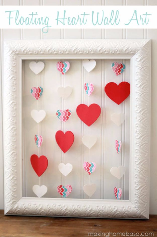 DIY Valentines Day Gifts for Her - Floating Heart Wall Art - Cool and Easy Things To Make for Your Wife, Girlfriend, Fiance - Creative and Cheap Do It Yourself Projects to Give Your Girl - Ladies Love These Ideas for Bath, Yard, Home and Kitchen, Outdoors - Make, Don't Buy Your Valentine http://diyjoy.com/diy-valentines-gifts-her
