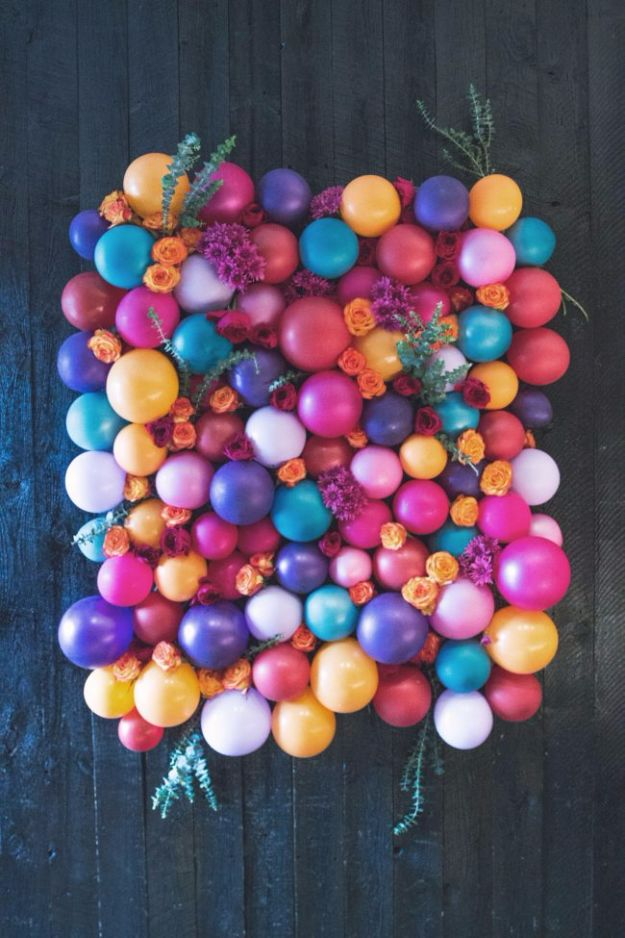 Balloon Crafts - Floral Balloon Backdrop - Fun Balloon Craft Ideas, Wall Art Projects and Cute Ballon Decor - DIY Balloon Ideas for Toddlers, Preschool Kids, Teens and Adults - Cheap Crafts Made With Balloons - Pumpkins, Bowls, Marshmallow Shooters, Balls, Glow Stick, Hot Air, Stress Ball http://diyjoy.com/balloon-crafts