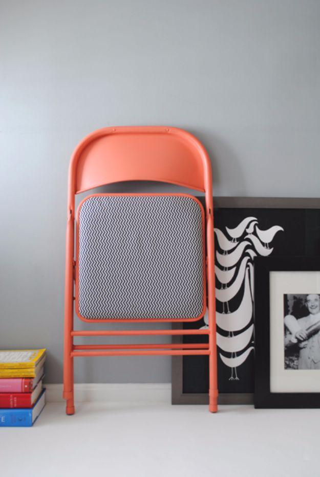 Best Furniture Hacks - Folding Chair Redo - Easy DIY Furniture Makeover Ideas for Cheap Home Decor - IKEA Hack Tutorials, Dressers, Cribs, Storage, For Kids, Bedroom and Good Ideas for Bath - Anthropologie, Walmart, Kmart, Target http://diyjoy.com/best-furniture-hacks