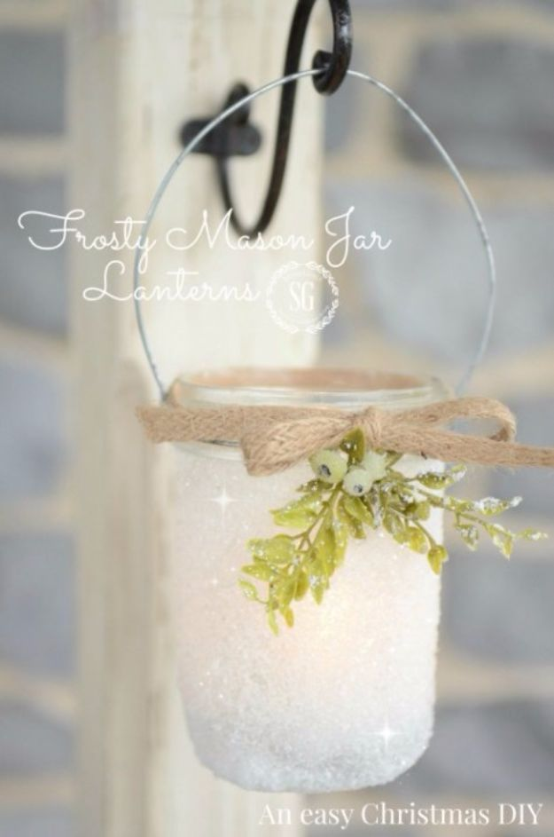 Cheap DIY Christmas Decor Ideas and Holiday Decorating On A Budget - Frosty Mason Jar Lanterns - Easy and Quick Decorating Ideas for The Holidays - Cool Dollar Store Crafts for Xmas Decorating On A Budget - wreaths, ornaments, bows, mantel decor, front door, tree and table centerpieces - best ideas for beautiful home decor during the holidays http://diyjoy.com/cheap-diy-christmas-decor