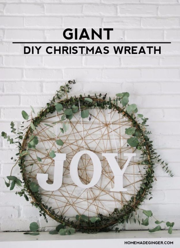 Cheap DIY Christmas Decor Ideas and Holiday Decorating On A Budget - Giant DIY Christmas Wreath - Easy and Quick Decorating Ideas for The Holidays - Cool Dollar Store Crafts for Xmas Decorating On A Budget - wreaths, ornaments, bows, mantel decor, front door, tree and table centerpieces - best ideas for beautiful home decor during the holidays http://diyjoy.com/cheap-diy-christmas-decor