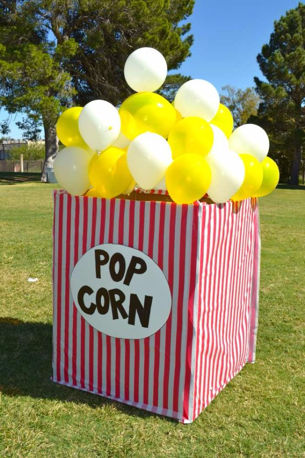 Giant Popcorn BoxBalloon Crafts - Giant Popcorn Boxes Balloon - Fun Balloon Craft Ideas, Wall Art Projects and Cute Ballon Decor - DIY Balloon Ideas for Toddlers, Preschool Kids, Teens and Adults - Cheap Crafts Made With Balloons - Pumpkins, Bowls, Marshmallow Shooters, Balls, Glow Stick, Hot Air, Stress Ball http://diyjoy.com/balloon-craftses Balloon