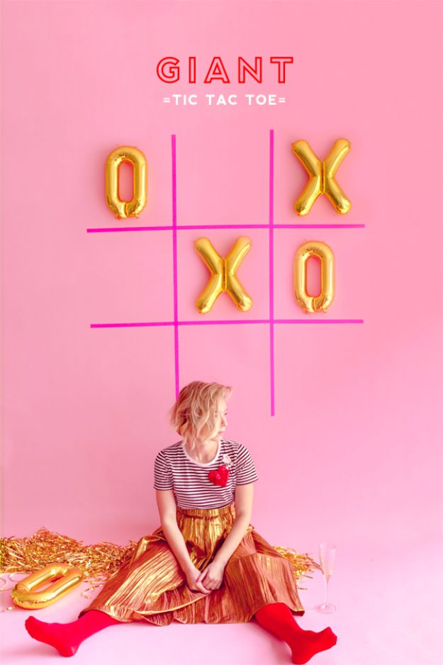 Cool Games To Make for Valentines Day - Giant Tic Tac Toe - Cheap and Easy Crafts For Valentine Parties - Ideas for Kids and Adults to Play Bingo, Matching, Free Printables and Cute Game Projects With Hearts, Red and Pink Art Ideas - Adorable Fun for The Holiday Celebrations #valentine #valentinesday