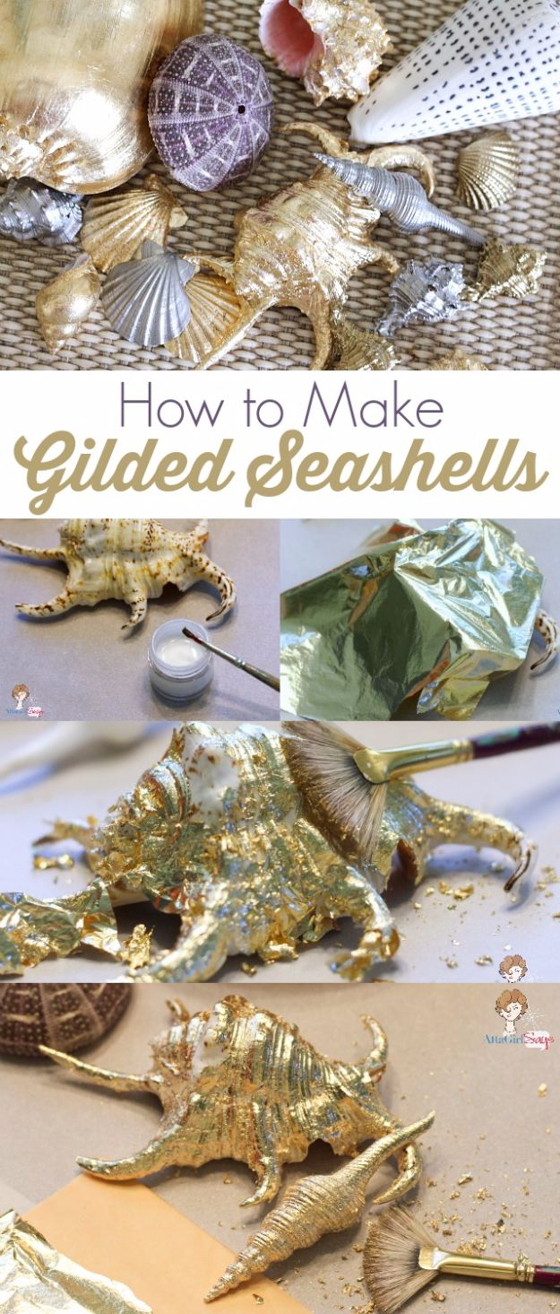 DIY Ideas With Sea Shells - Gilded Seashells - Best Cute Sea Shell Crafts for Adults and Kids - Easy Beach House Decor Ideas With Sand and Large Shell Art - Wall Decor and Home, Bedroom and Bath - Cheap DIY Projects Make Awesome Homemade Gifts http://diyjoy.com/diy-ideas-sea-shells