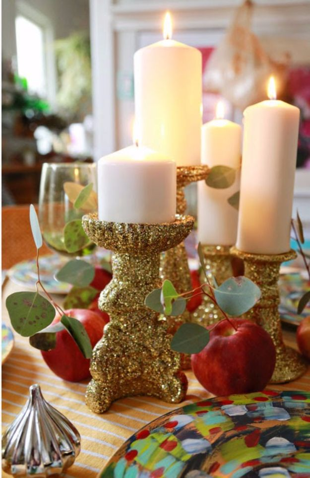 Cheap DIY Christmas Decor Ideas and Holiday Decorating On A Budget - Glitter Candlesticks - Easy and Quick Decorating Ideas for The Holidays - Cool Dollar Store Crafts for Xmas Decorating On A Budget - wreaths, ornaments, bows, mantel decor, front door, tree and table centerpieces - best ideas for beautiful home decor during the holidays http://diyjoy.com/cheap-diy-christmas-decor