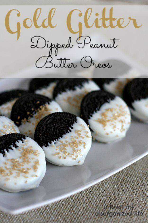New Years Eve Party Recipes - Gold Glitter Dipped Peanut Butter Oreos- Best New Year Drinks, Cocktails, Appetizers and Party Foods for Your New Year's Eve Celebration - Quick Desserts, Snacks, Dips, Finger Foods, Cake and Champagne Toast Recipe Ideas - Fun and Easy Foods To Serve For A Crowd #newyears #recipes