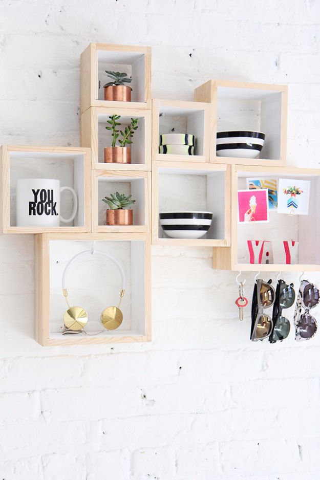 Best DIY Home Decor Crafts - Gorgeous Box Shelves - Easy Craft Ideas To Make From Dollar Store Items - Cheap Wall Art, Easy Do It Yourself Gifts, Modern Wall Art On A Budget, Tabletop and Centerpiece Tutorials - Cool But Affordable Room and Home Decor With Step by Step Tutorials #diyhomedecor