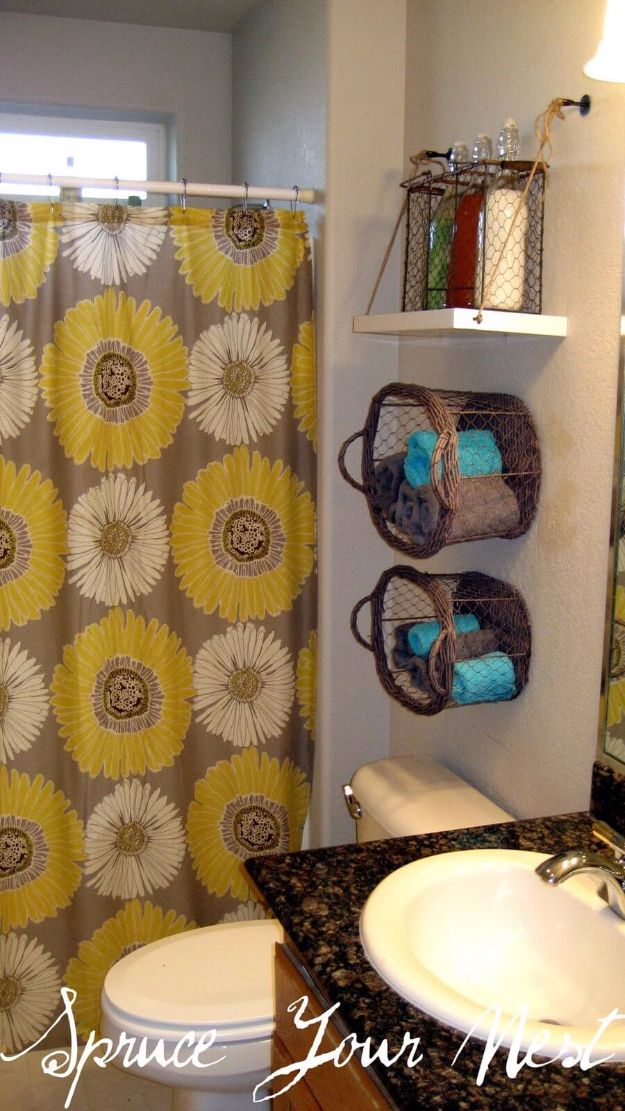 DIY Bathroom Storage Ideas - Hanging Shelf And Basket Organizers - Best Solutions for Under Sink Organization, Countertop Jars and Boxes, Counter Caddy With Mason Jars, Over Toilet Ideas and Shelves, Easy Tips and Tricks for Small Spaces To Organize Bath Products http://diyjoy.com/diy-bathroom-storage-ideas