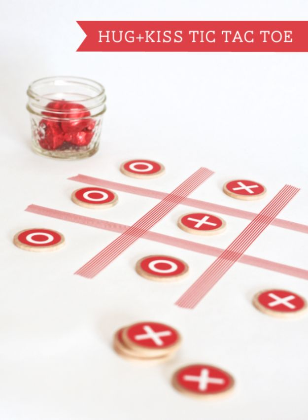 Cool Games To Make for Valentines Day - Hug + Kiss Tic Tac Toe - Cheap and Easy Crafts For Valentine Parties - Ideas for Kids and Adults to Play Bingo, Matching, Free Printables and Cute Game Projects With Hearts, Red and Pink Art Ideas - Adorable Fun for The Holiday Celebrations #valentine #valentinesday