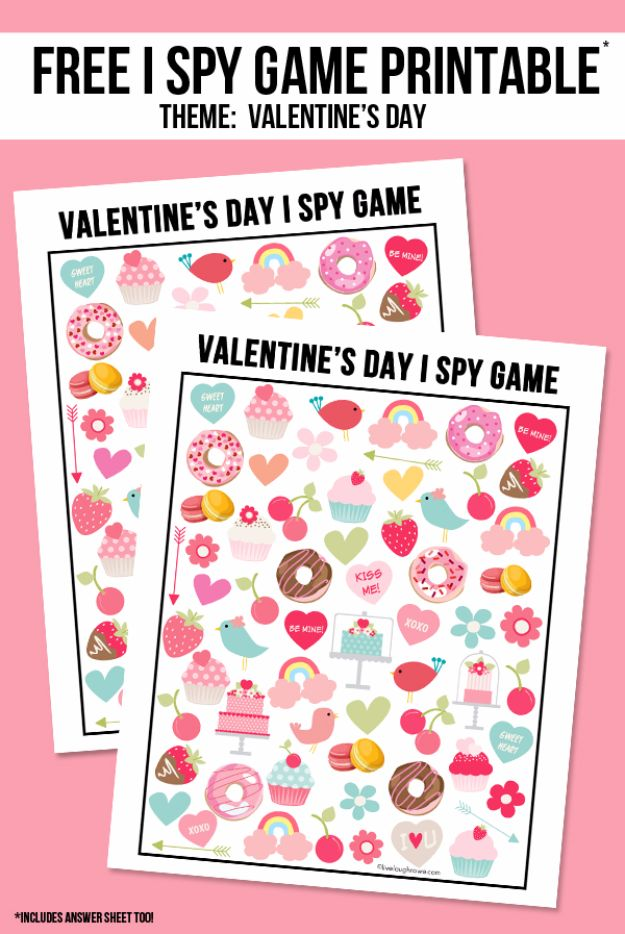 Cool Games To Make for Valentines Day - I Spy Game - Cheap and Easy Crafts For Valentine Parties - Ideas for Kids and Adults to Play Bingo, Matching, Free Printables and Cute Game Projects With Hearts, Red and Pink Art Ideas - Adorable Fun for The Holiday Celebrations #valentine #valentinesday