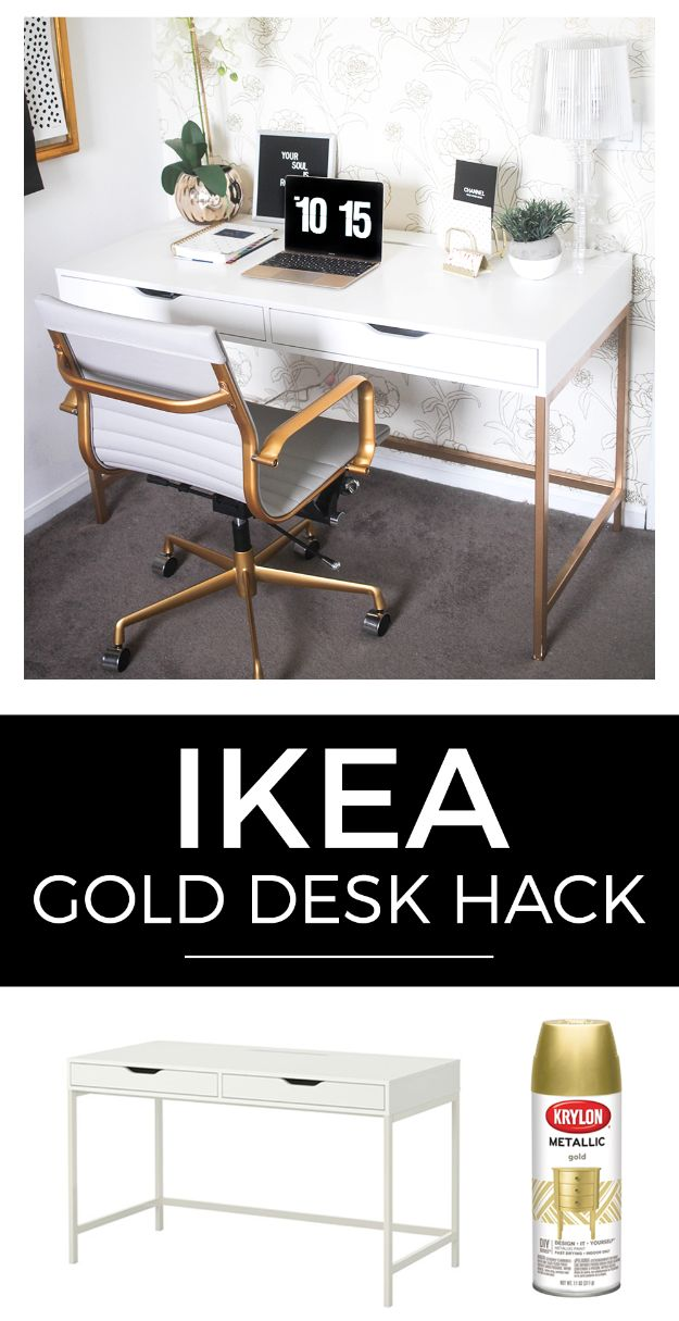 IKEA Hacks For The Bedroom - IKEA Gold Desk Hack - Best IKEA Furniture Hack Ideas for Bed, Storage, Nightstand, Closet System and Storage, Dresser, Vanity, Wall Art and Kids Rooms - Easy and Cheap DIY Projects for Affordable Room and Home Decor #ikeahacks #diydecor #bedroomdecor