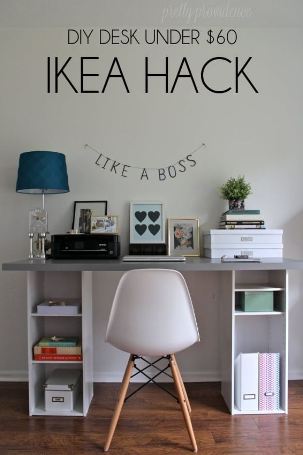 IKEA Hacks For The Bedroom - IKEA Hack DIY Desk Under $60 - Best IKEA Furniture Hack Ideas for Bed, Storage, Nightstand, Closet System and Storage, Dresser, Vanity, Wall Art and Kids Rooms - Easy and Cheap DIY Projects for Affordable Room and Home Decor #ikeahacks #diydecor #bedroomdecor