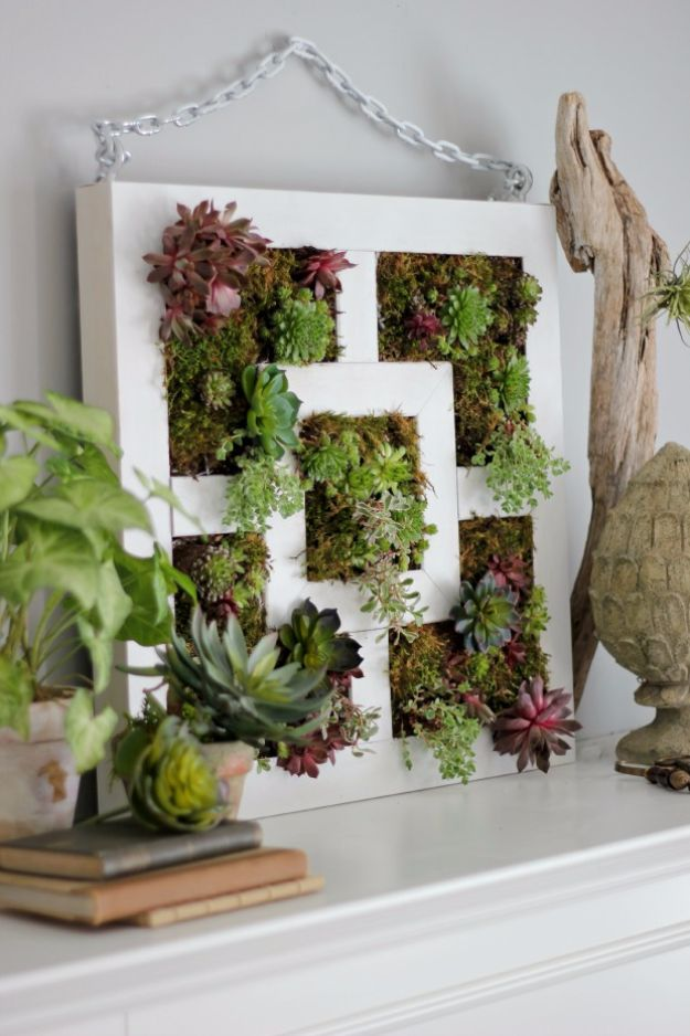 IKEA Hacks For The Bedroom - IKEA Lack Table Hack To Succulent Vertical Garden - Best IKEA Furniture Hack Ideas for Bed, Storage, Nightstnad, Closet System and Storage, Dresser, Vanity, Wall Art and Kids Rooms - Easy and Cheap DIY Projects for Affordable Room and Home Decor http://diyjoy.com/ikea-hacks-bedroom