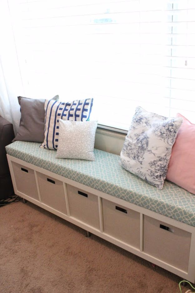 IKEA Hacks For The Bedroom - IKEA No Sew Window Bench - Best IKEA Furniture Hack Ideas for Bed, Storage, Nightstand, Closet System and Storage, Dresser, Vanity, Wall Art and Kids Rooms - Easy and Cheap DIY Projects for Affordable Room and Home Decor #ikeahacks #diydecor #bedroomdecor