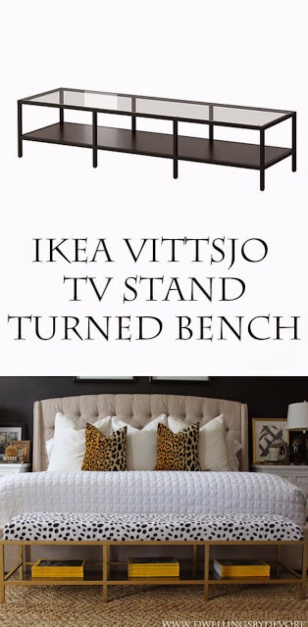 IKEA Hacks For The Bedroom - IKEA Vittsjo TV Stand Turned Bench - Best IKEA Furniture Hack Ideas for Bed, Storage, Nightstand, Closet System and Storage, Dresser, Vanity, Wall Art and Kids Rooms - Easy and Cheap DIY Projects for Affordable Room and Home Decor #ikeahacks #diydecor #bedroomdecor