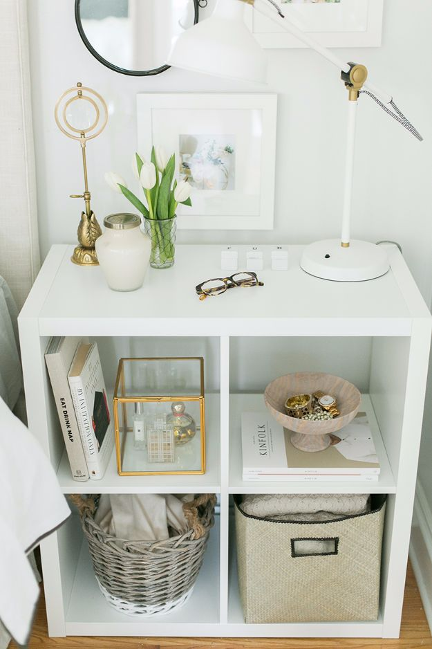 IKEA Hacks For The Bedroom - Ikea Kallax as a NIGHTSTAND - Best IKEA Furniture Hack Ideas for Bed, Storage, Nightstand, Closet System and Storage, Dresser, Vanity, Wall Art and Kids Rooms - Easy and Cheap DIY Projects for Affordable Room and Home Decor #ikeahacks #diydecor #bedroomdecor