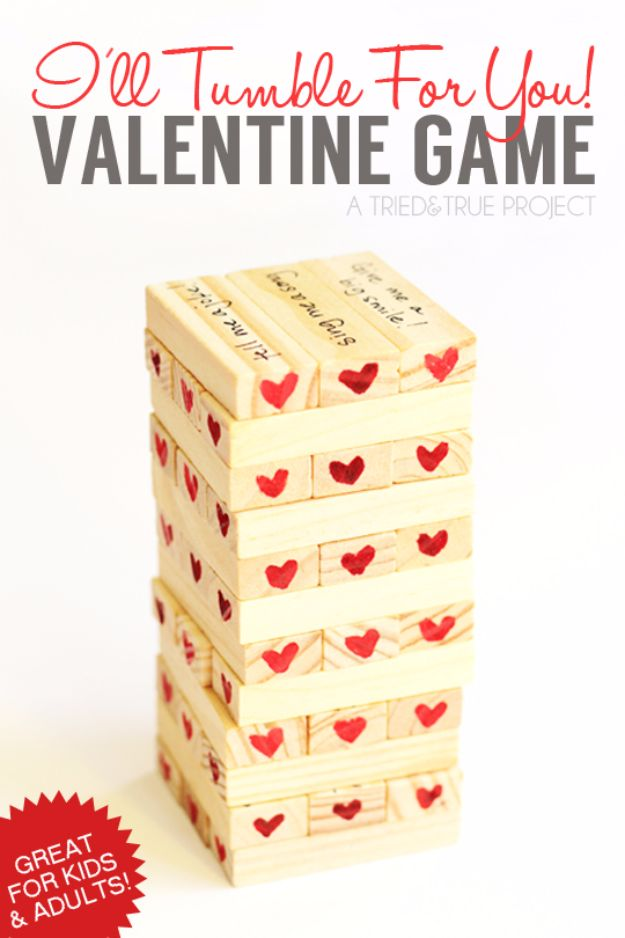 Cool Games To Make for Valentines Day - I'll Tumble For You Valentine Game - Cheap and Easy Crafts For Valentine Parties - Ideas for Kids and Adults to Play Bingo, Matching, Free Printables and Cute Game Projects With Hearts, Red and Pink Art Ideas - Adorable Fun for The Holiday Celebrations #valentine #valentinesday