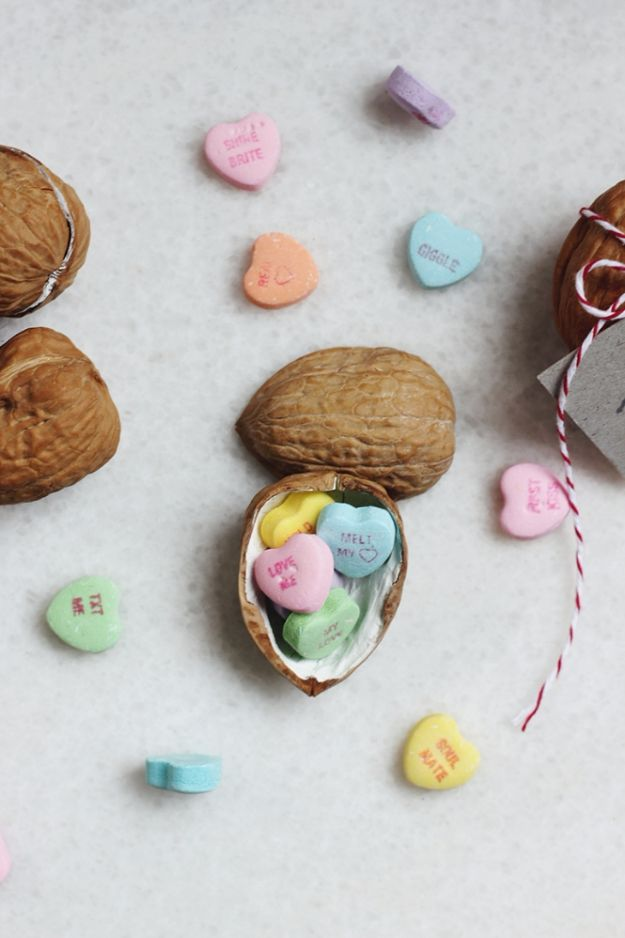 DIY Valentines Day Gifts for Him - I'm Nuts About You Walnut Valentine - Cool and Easy Things To Make for Your Husband, Boyfriend, Fiance - Creative and Cheap Do It Yourself Projects to Give Your Man - Ideas Guys Love These Ideas for Car, Yard, Home and Garage - Make, Don't Buy Your Valentine http://diyjoy.com/diy-valentines-gifts-him