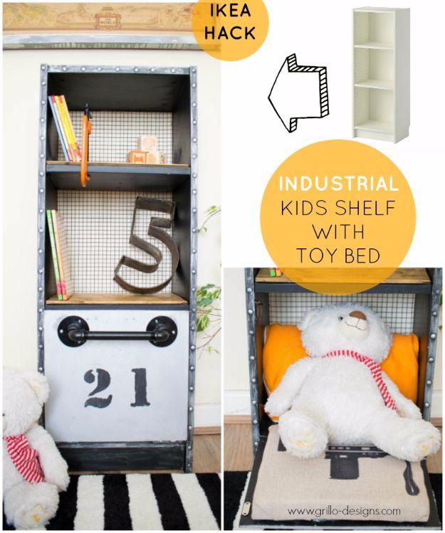 Best Furniture Hacks - Industrial Kids Shelf With Toy Bed - Easy DIY Furniture Makeover Ideas for Cheap Home Decor - IKEA Hack Tutorials, Dressers, Cribs, Storage, For Kids, Bedroom and Good Ideas for Bath - Anthropologie, Walmart, Kmart, Target http://diyjoy.com/best-furniture-hacks