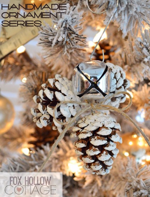 Cheap DIY Christmas Decor Ideas and Holiday Decorating On A Budget -  Jingle Bell Pinecone Ornament - Easy and Quick Decorating Ideas for The Holidays - Cool Dollar Store Crafts for Xmas Decorating On A Budget - wreaths, ornaments, bows, mantel decor, front door, tree and table centerpieces #christmas #diy #crafts