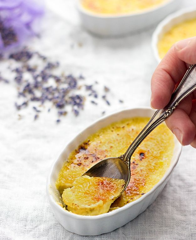 New Years Eve Party Recipes - Lavender Creme Brulee- Best New Year Drinks, Cocktails, Appetizers and Party Foods for Your New Year's Eve Celebration - Quick Desserts, Snacks, Dips, Finger Foods, Cake and Champagne Toast Recipe Ideas - Fun and Easy Foods To Serve For A Crowd #newyears #recipes