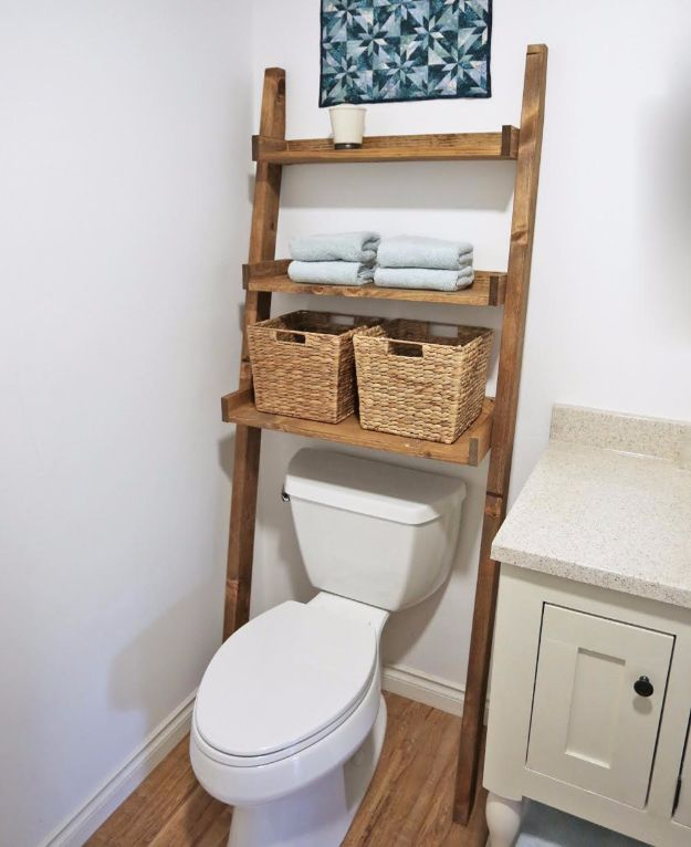 DIY Bathroom Storage Ideas - Leaning Bathroom Ladder - Best Solutions for Under Sink Organization, Countertop Jars and Boxes, Counter Caddy With Mason Jars, Over Toilet Ideas and Shelves, Easy Tips and Tricks for Small Spaces To Organize Bath Products http://diyjoy.com/diy-bathroom-storage-ideas