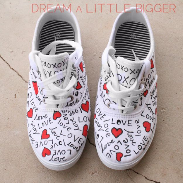 DIY Valentines Day Gifts for Her - Love Doodled Shoes - Cool and Easy Things To Make for Your Wife, Girlfriend, Fiance - Creative and Cheap Do It Yourself Projects to Give Your Girl - Ladies Love These Ideas for Bath, Yard, Home and Kitchen, Outdoors - Make, Don't Buy Your Valentine http://diyjoy.com/diy-valentines-gifts-her