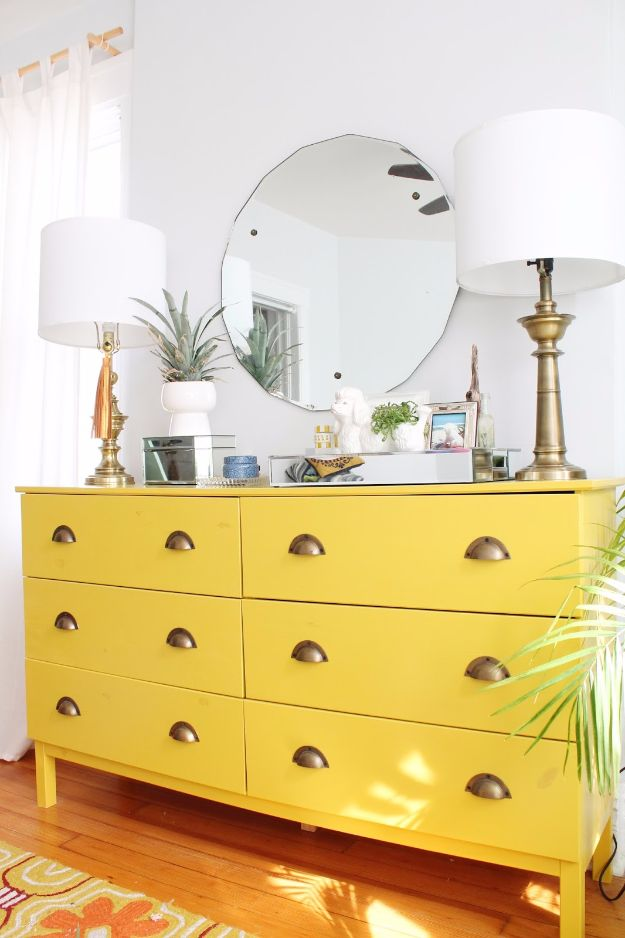IKEA Hacks For The Bedroom - Luxe Laquer Dresser - Best IKEA Furniture Hack Ideas for Bed, Storage, Nightstnad, Closet System and Storage, Dresser, Vanity, Wall Art and Kids Rooms - Easy and Cheap DIY Projects for Affordable Room and Home Decor http://diyjoy.com/ikea-hacks-bedroom