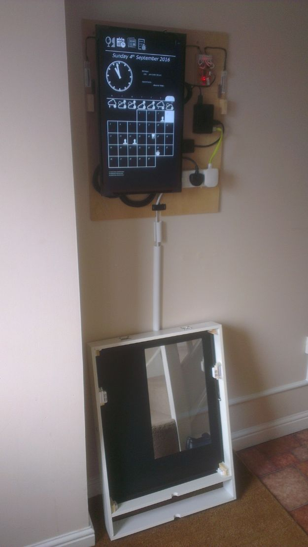 DIY Gadgets - Magic Mirror Hallway Dashboard - Homemade Gadget Ideas and Projects for Men, Women, Teens and Kids - Steampunk Inventions, How To Build Easy Electronics, Cool Spy Gear and Do It Yourself Tech Toys http://diyjoy.com/diy-gadgets