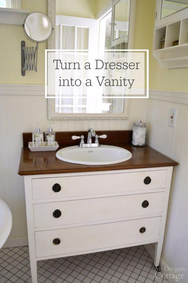 Best Furniture Hacks - Make A Dresser Into A Vanity - Easy DIY Furniture Makeover Ideas for Cheap Home Decor - IKEA Hack Tutorials, Dressers, Cribs, Storage, For Kids, Bedroom and Good Ideas for Bath - Anthropologie, Walmart, Kmart, Target http://diyjoy.com/best-furniture-hacks