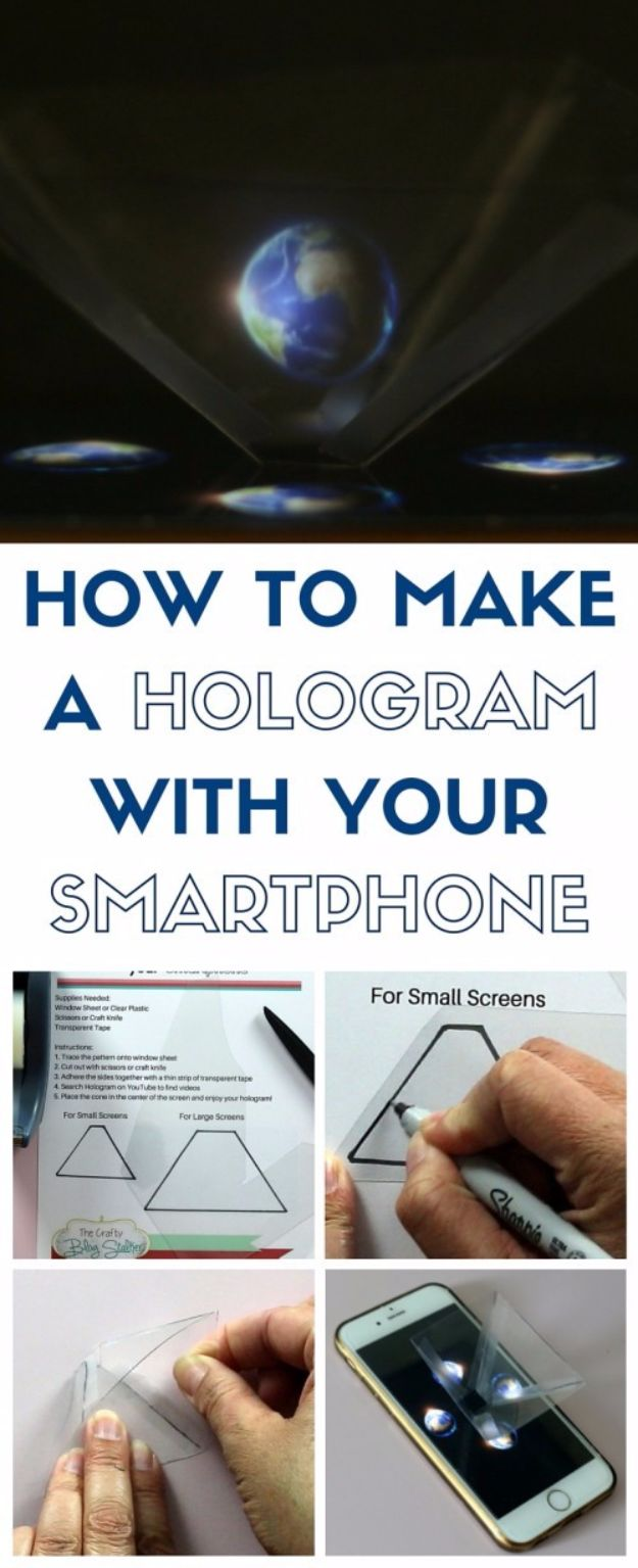 DIY Gadgets - Make A Hologram With Your Smartphone - Homemade Gadget Ideas and Projects for Men, Women, Teens and Kids - Steampunk Inventions, How To Build Easy Electronics, Cool Spy Gear and Do It Yourself Tech Toys http://diyjoy.com/diy-gadgets