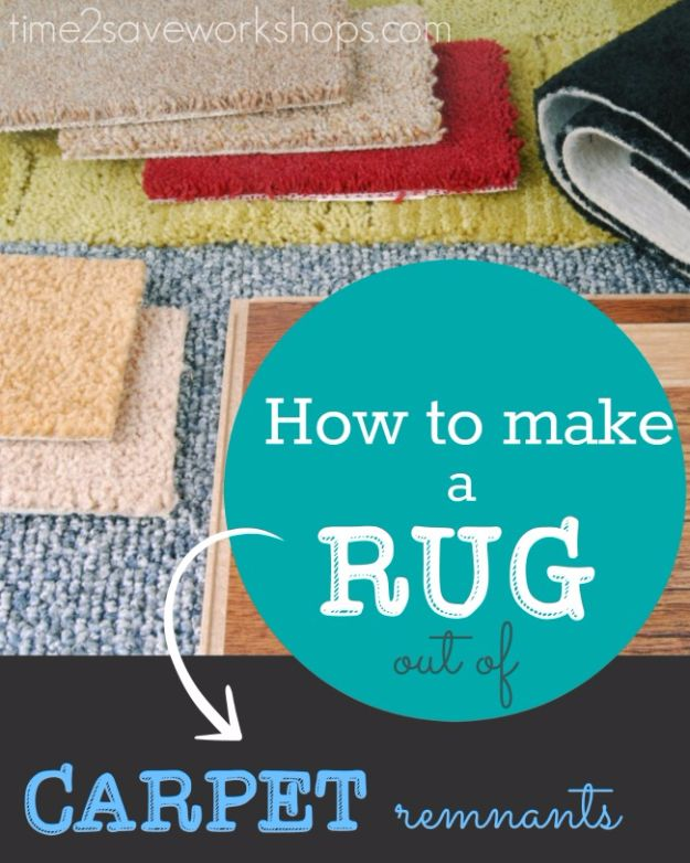 DIY Ideas With Carpet Scraps - Make A Rug Out Of Carpet Remnant - Cool Crafts To Make With Old Carpet Remnants - Cheap Do It Yourself Gifts and Home Decor on A Budget - Creative But Cheap Ideas for Decorating Your House and Room - Painted, No Sew and Creative Arts and Craft Projects http://diyjoy.com/diy-ideas-carpet-scraps