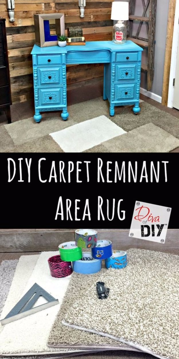 DIY Ideas With Carpet Scraps - Make Carpet Sample Area Rug on a Budget - Cool Crafts To Make With Old Carpet Remnants - Cheap Do It Yourself Gifts and Home Decor on A Budget - Creative But Cheap Ideas for Decorating Your House and Room - Painted, No Sew and Creative Arts and Craft Projects http://diyjoy.com/diy-ideas-carpet-scraps