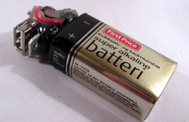 DIY Gadgets - Make Your Own 9V Battery-Powered USB Charger - Homemade Gadget Ideas and Projects for Men, Women, Teens and Kids - Steampunk Inventions, How To Build Easy Electronics, Cool Spy Gear and Do It Yourself Tech Toys http://diyjoy.com/diy-gadgets