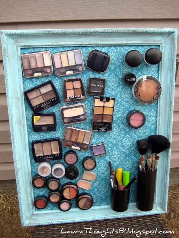 DIY Bathroom Storage Ideas - Make-up Magnet Board - Best Solutions for Under Sink Organization, Countertop Jars and Boxes, Counter Caddy With Mason Jars, Over Toilet Ideas and Shelves, Easy Tips and Tricks for Small Spaces To Organize Bath Products http://diyjoy.com/diy-bathroom-storage-ideas