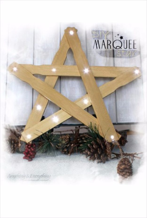 Cheap DIY Christmas Decor Ideas and Holiday Decorating On A Budget - Marquee Star - Easy and Quick Decorating Ideas for The Holidays - Cool Dollar Store Crafts for Xmas Decorating On A Budget - wreaths, ornaments, bows, mantel decor, front door, tree and table centerpieces #christmas #diy #crafts