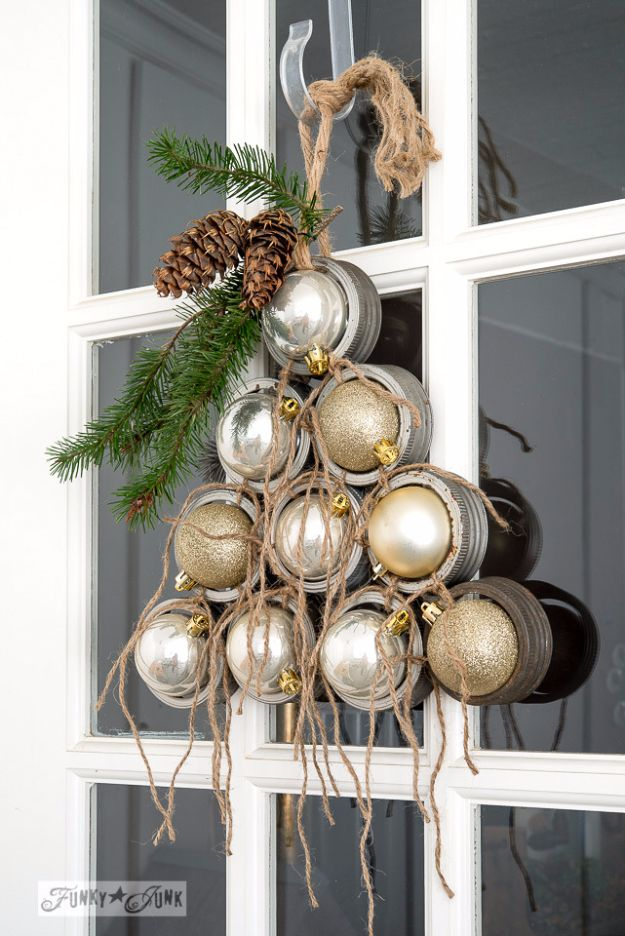 Cheap DIY Christmas Decor Ideas and Holiday Decorating On A Budget - Mason Jar Lid Ornament Christmas Tree Wreath - Easy and Quick Decorating Ideas for The Holidays - Cool Dollar Store Crafts for Xmas Decorating On A Budget - wreaths, ornaments, bows, mantel decor, front door, tree and table centerpieces - best ideas for beautiful home decor during the holidays http://diyjoy.com/cheap-diy-christmas-decor