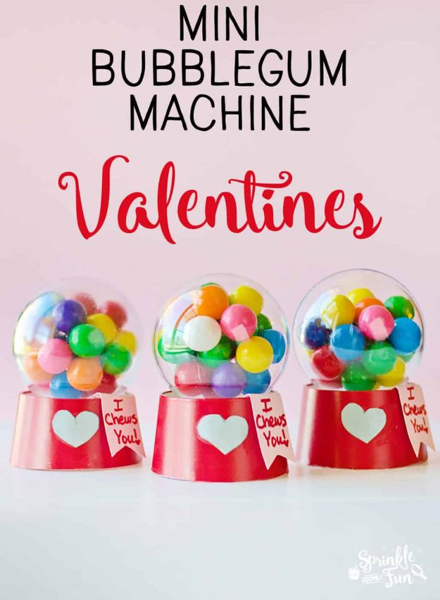 Cheap DIY Valentines Day Gifts for Her - Mini Bubblegum Machine Valentines - Cool and Easy Things To Make for Kids Classroom Valentines Gifts - Creative Ideas to Give Girlfriend on Valentines Day