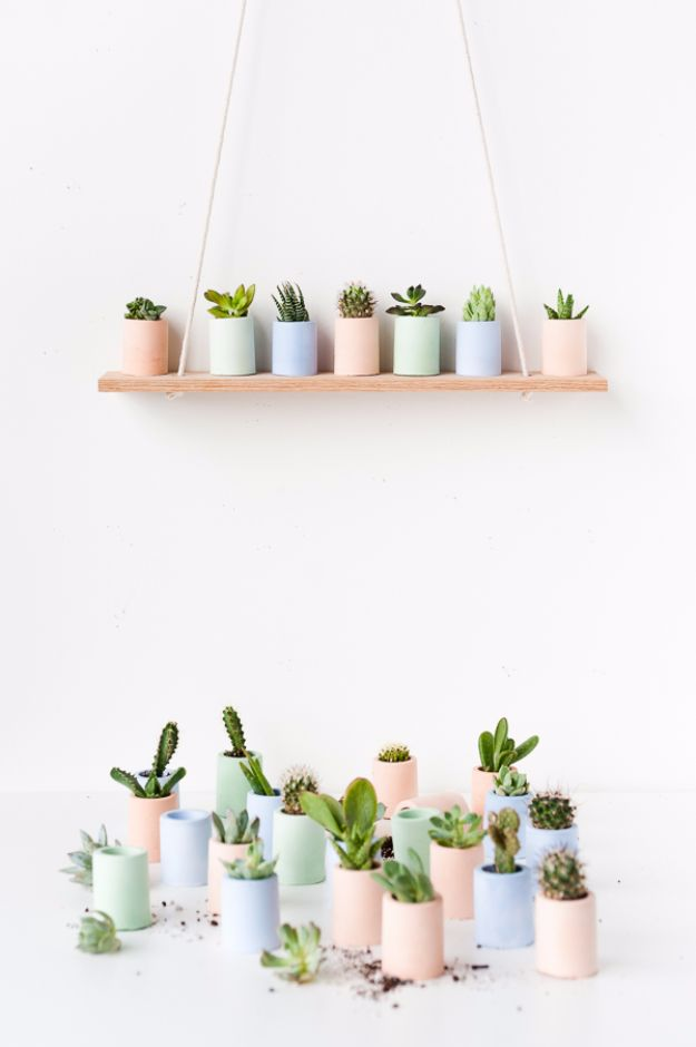 Best DIY Home Decor Crafts - Mini Pastel Planters - Easy Craft Ideas To Make From Dollar Store Items - Cheap Wall Art, Easy Do It Yourself Gifts, Modern Wall Art On A Budget, Tabletop and Centerpiece Tutorials - Cool But Affordable Room and Home Decor With Step by Step Tutorials #diyhomedecor