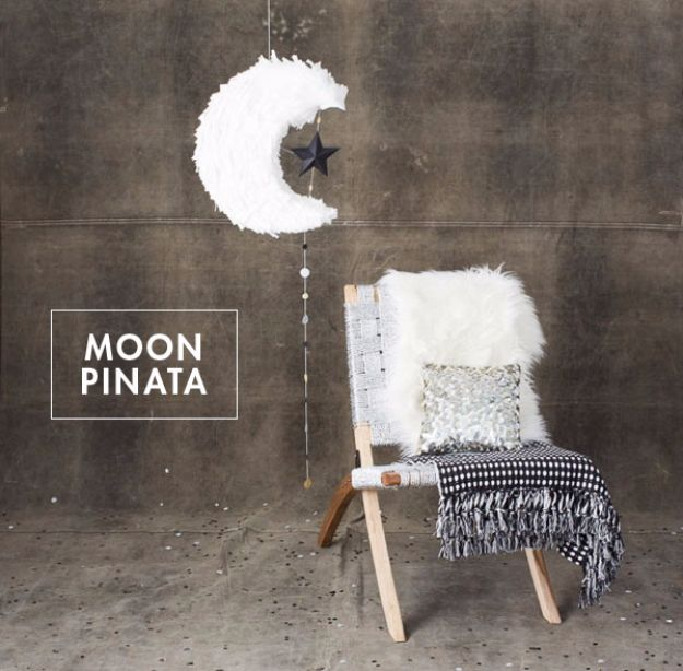 New Years Eve Decor Ideas - Moon Pinata DIY - DIY New Year's Eve Decorations - Cheap Ideas for Banners, Balloons, Party Tables, Centerpieces and Festive Streamers and Lights - Cool Placecards, Photo Backdrops, Party Hats, Party Horns and Champagne Glasses - Cute Invitations, Games and Free Printables http://diyjoy.com/new-years-eve-decor-ideas
