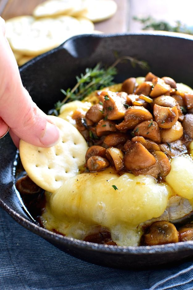 New Years Eve Party Recipes -Mushroom Marsala Baked Brie - Best New Year Drinks, Cocktails, Appetizers and Party Foods for Your New Year's Eve Celebration - Quick Desserts, Snacks, Dips, Finger Foods, Cake and Champagne Toast Recipe Ideas - Fun and Easy Foods To Serve For A Crowd http://diyjoy.com/new-years-eve-recipes