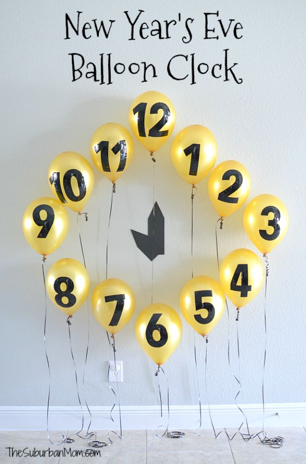 New Years Eve Decor Ideas - New Year's Eve Balloon Clock Countdown - DIY New Year's Eve Decorations - Cheap Ideas for Banners, Balloons, Party Tables, Centerpieces and Festive Streamers and Lights - Cool Placecards, Photo Backdrops, Party Hats, Party Horns and Champagne Glasses - Cute Invitations, Games and Free Printables #diy #newyearseve #parties
