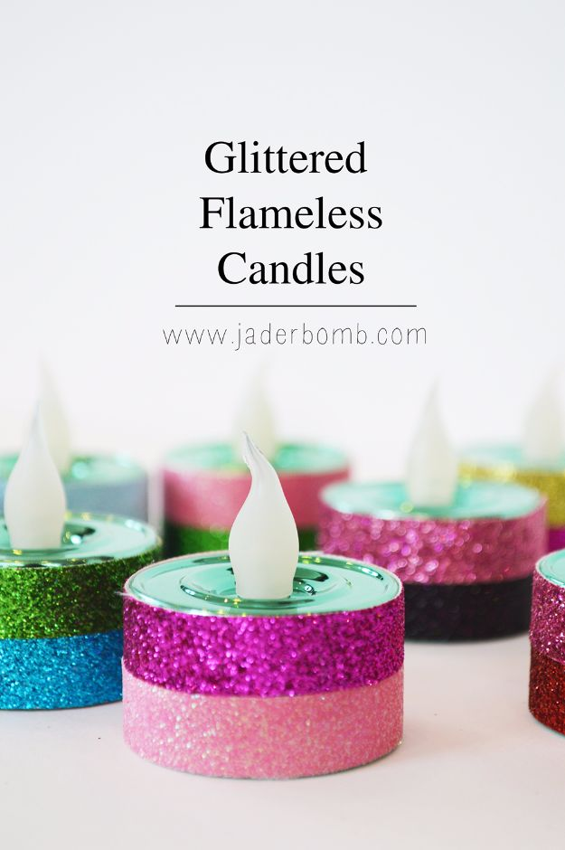 New Years Eve Decor Ideas - New Years Eve Glittered Tea Lights - DIY New Year's Eve Decorations - Cheap Ideas for Banners, Balloons, Party Tables, Centerpieces and Festive Streamers and Lights - Cool Placecards, Photo Backdrops, Party Hats, Party Horns and Champagne Glasses - Cute Invitations, Games and Free Printables http://diyjoy.com/new-years-eve-decor-ideas