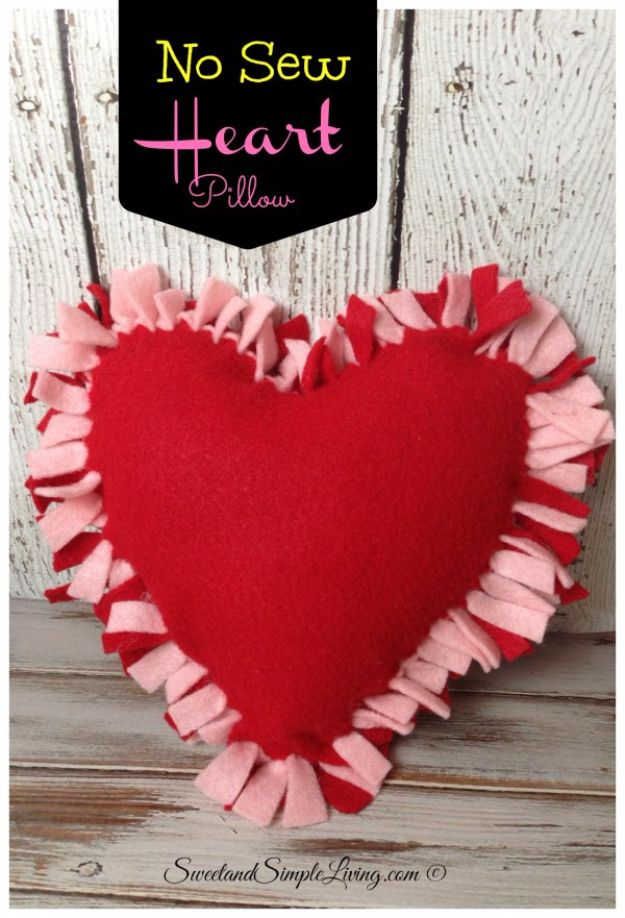 DIY Valentines Day Gifts for Her - No Sew Heart Pillow - Cool and Easy Things To Make for Your Wife, Girlfriend, Fiance - Creative and Cheap Do It Yourself Projects to Give Your Girl - Ladies Love These Ideas for Bath, Yard, Home and Kitchen, Outdoors - Make, Don't Buy Your Valentine