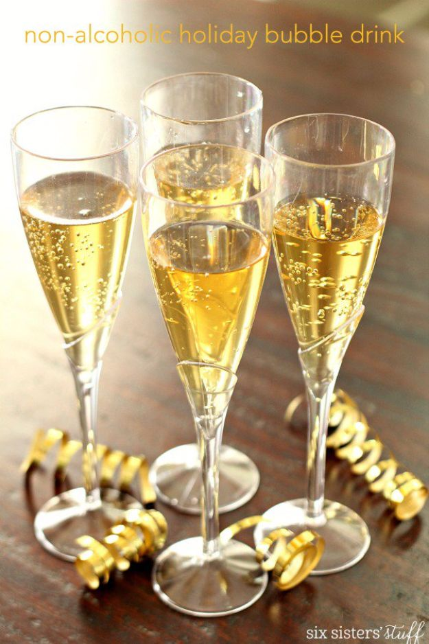 Best Drink Recipes for New Years Eve - Non Alcoholic Holiday Bubble Drink - Creative Cocktails, Drinks, Champagne Toasts, and Punch Mixes for A New Year's Eve Party - Ideas for Serving, Glasses, Fun Ideas for Shots and Cocktails - Easy Vodka Recipes, Non Alcoholic, Whisky Rum and Party Punches #newyearseve