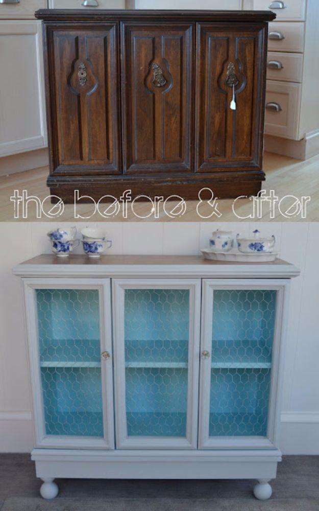 Best Furniture Hacks - Old Cabinet Makeover - Easy DIY Furniture Makeover Ideas for Cheap Home Decor - IKEA Hack Tutorials, Dressers, Cribs, Storage, For Kids, Bedroom and Good Ideas for Bath - Anthropologie, Walmart, Kmart, Target http://diyjoy.com/best-furniture-hacks