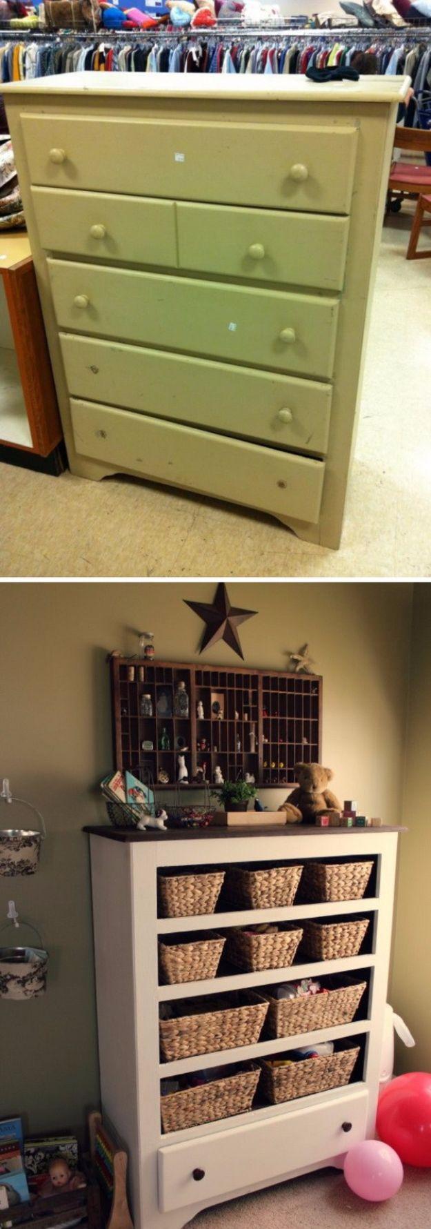 Best Furniture Hacks - Old Dresser Into A Functional Storage - Easy DIY Furniture Makeover Ideas for Cheap Home Decor - IKEA Hack Tutorials, Dressers, Cribs, Storage, For Kids, Bedroom and Good Ideas for Bath - Anthropologie, Walmart, Kmart, Target http://diyjoy.com/best-furniture-hacks