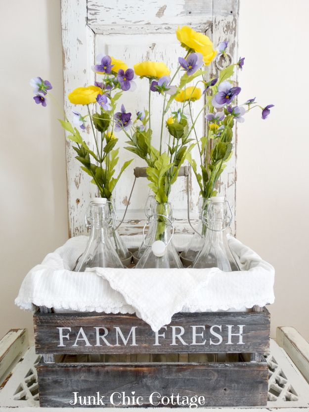 Best DIY Home Decor Crafts - Old French Milk Bottles - Easy Craft Ideas To Make From Dollar Store Items - Cheap Wall Art, Easy Do It Yourself Gifts, Modern Wall Art On A Budget, Tabletop and Centerpiece Tutorials - Cool But Affordable Room and Home Decor With Step by Step Tutorials http://diyjoy.com/diy-home-decor-crafts