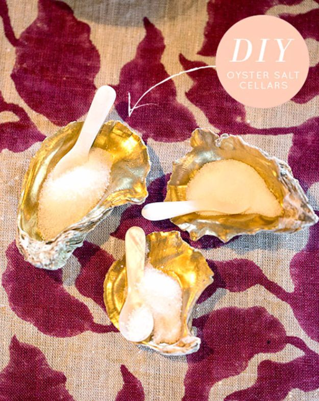 DIY Ideas With Sea Shells - Oyster Shell Salt Cellars - Best Cute Sea Shell Crafts for Adults and Kids - Easy Beach House Decor Ideas With Sand and Large Shell Art - Wall Decor and Home, Bedroom and Bath - Cheap DIY Projects Make Awesome Homemade Gifts http://diyjoy.com/diy-ideas-sea-shells